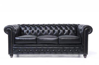 Chesterfield Sofa Original Leder   3-Sitzer   Schwarz   12 Jahre Garantie