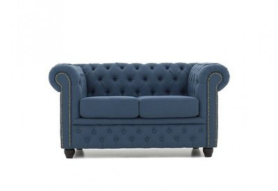 Chesterfield Sofa Orignal Stoff    2-Sitzer    Pitch Blau   12 Jahre Garantie