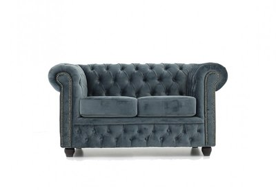 Chesterfield Sofa Original Samt  2-Sitzer   Grau   12 Jahre Garantie