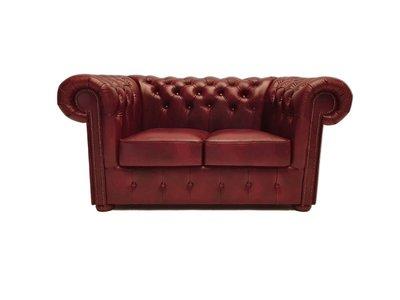 Chesterfield Sofa Class Leder |2- Sitzer |  Cloudy Rot | 12 Jahre Garantie