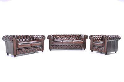 Chesterfield Sofa Original Leder |  1 + 2 + 3 Sitzer | Antik Braun |12 Jahre Garantie