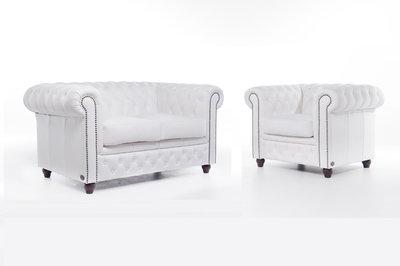 Chesterfield Sofa Original Leder |  1 + 2  Sitzer | Weiß |12 Jahre Garantie