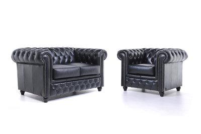 Chesterfield Sofa Original Leder    1 + 2  Sitzer   Schwarz  12 Jahre Garantie