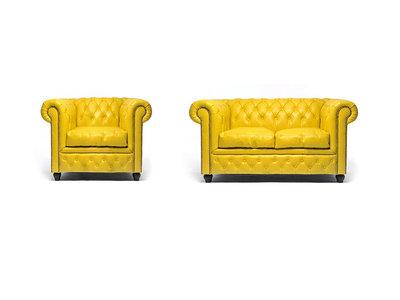 Chesterfield Sofa Original Leder    1 + 2  Sitzer   Gelb  12 Jahre Garantie