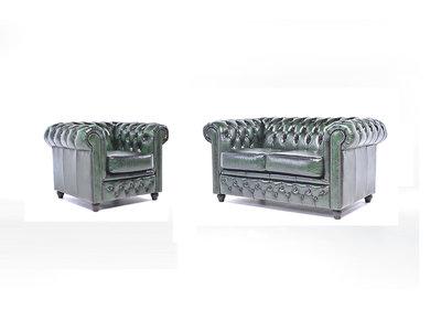 Chesterfield Sofa Original Leder    1 + 2  Sitzer   Antik Grün  12 Jahre Garantie