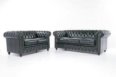 Chesterfield Sofa Original Leder |  2 + 3  Sitzer | Antik Grün |12 Jahre Garantie