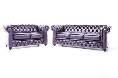 Chesterfield Sofa Original Leder    2 + 3  Sitzer   Antik Violett  12 Jahre Garantie