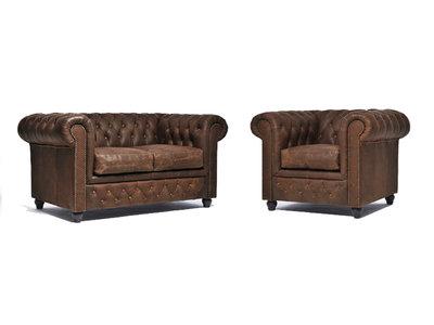Chesterfield Sofa Vintage Leder C0869   1 + 2 Sitzer   12 Jahre Garantie