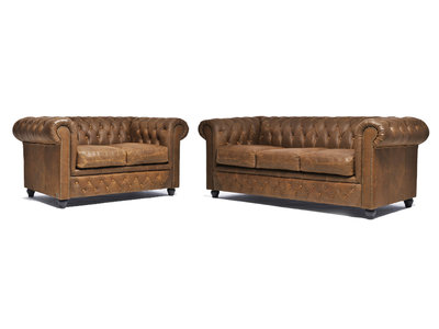 Chesterfield Sofa Vintage Leder Alabama C1059   2 + 3 Sitzer   12 Jahre Garantie