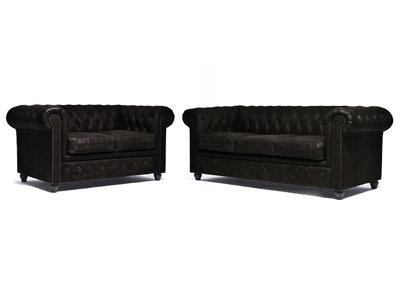 Chesterfield Sofa Vintage Leder C0936 | 2 + 3 Sitzer | 12 Jahre Garantie